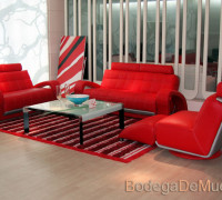 "Sala de Piel Moderna Color Rojo  ""Red Star """