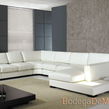 "Sala de Piel Completa Moderna Color Blanco ""U Light"""