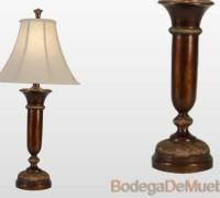 Lámpara para Recámara de poliresina y pantalla tipo campana de tela suave beige