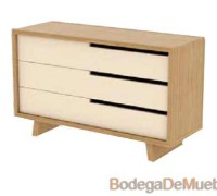 Comoda de Madera juvenil de madera de fresno y alder en dos tonos.
