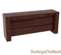Comoda de Madera minimalista de madera de encino color tabaco.