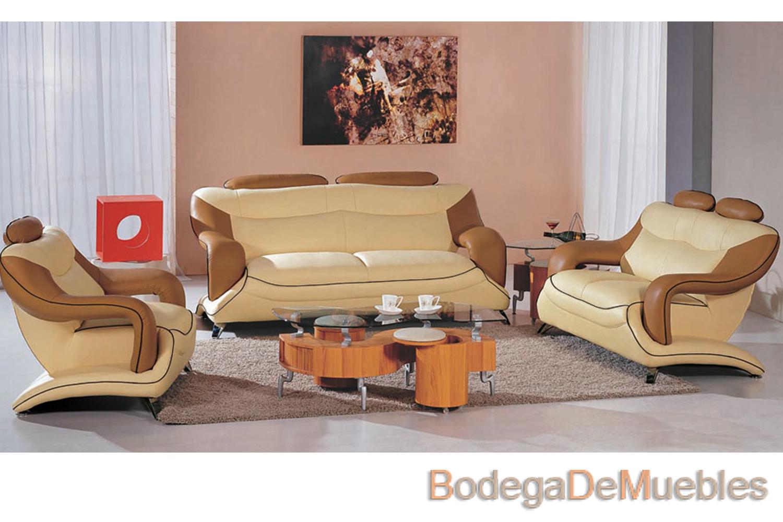 Sala De Piel Moderna Color Caf Y Beige Page Bodega De Muebles