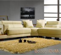 sala tipo esquinera o escuadra moderna color beige