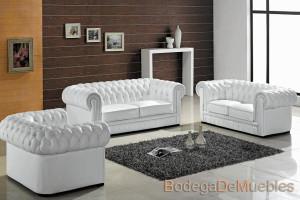 Sala de Piel Elegante y Contemporánea color blanca