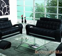"Sala de Piel Moderna Color Negro ""Futur"""