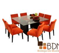 Mesa rectangular para comedor con detalles tubulares