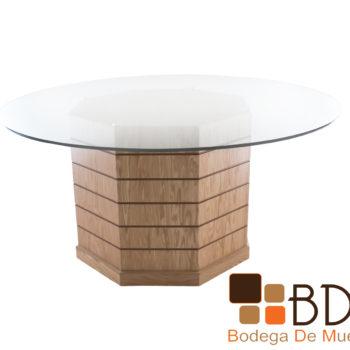 Mesa de comedor redonda con cubierta de cristal