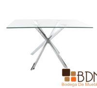 Mesa rectangular con cubierta cristal para comedor