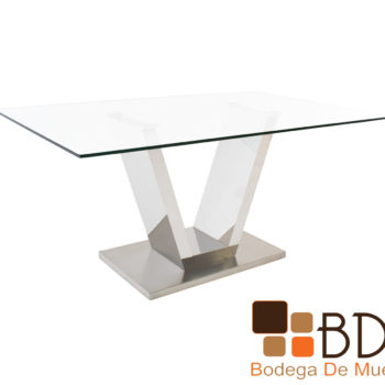 Mesa para Comedor Rectangular Cristal Cromado