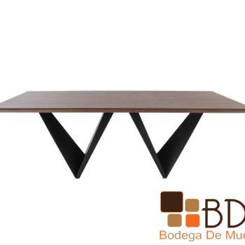 Mesa para Comedor Rectangular de Madera Base de Metal