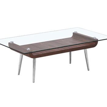 Mesa de centro para sala con cubierta de cristal