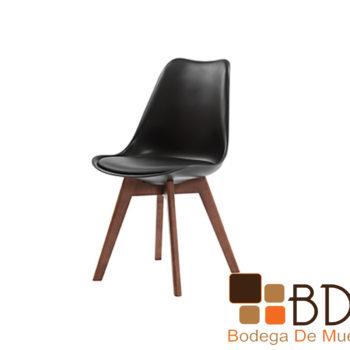 Silla ocasional en vinil y madera color nogal y negro