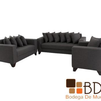 Sala tres piezas moderna con sillones y love seat color gris