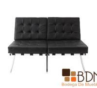 Love seat moderno en color negro con sillones individuales