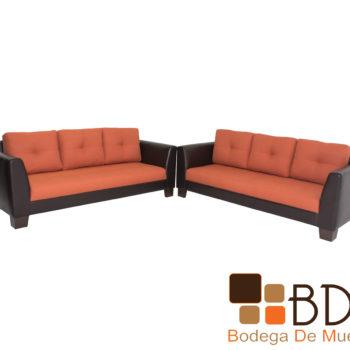 Sala moderna con sillones color naranja
