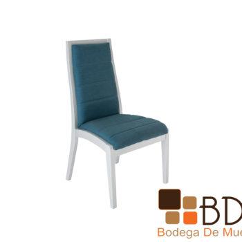 Silla para comedor moderna en color azul con plata